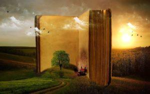 Buch mit Baum und Bank