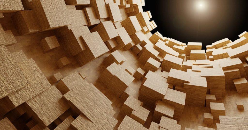 Holzbalken für den Dachstuhl