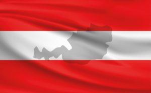 Österreich-Flagge mit Landesumriss