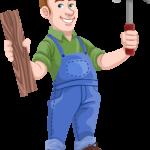 Handwerker mit Hammer und Latte