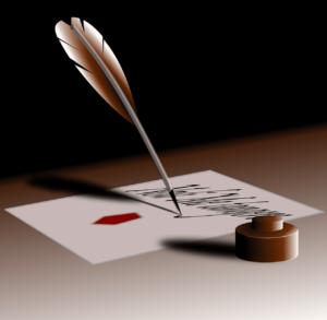 Feder, Tinte und Papier