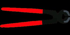 Ziegelkneifzange mit rotem Griff